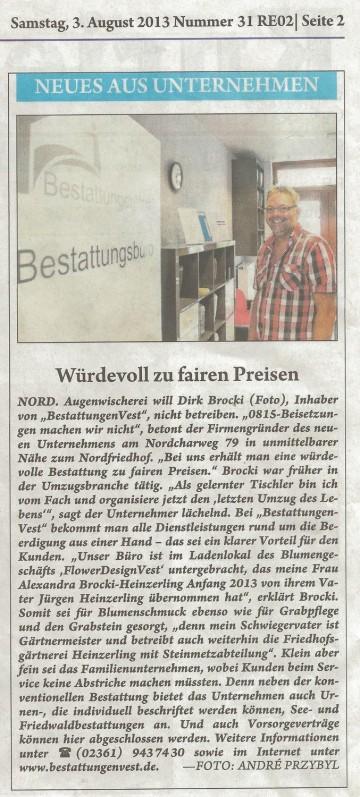 BestattungenVest im Kurier zum Sonntag am 03.08.2013