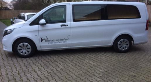 BestattungenVest, Bestatter,Recklinghausen, weißer Leichenwagen,